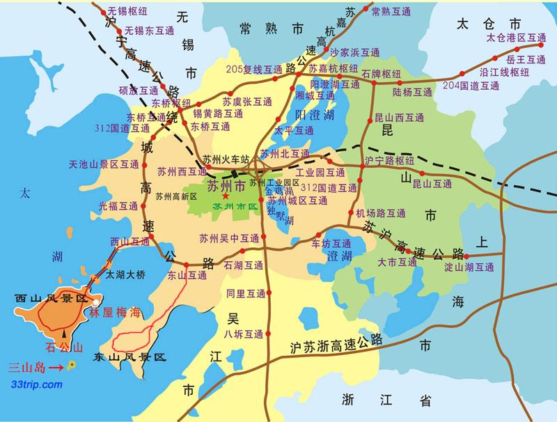 苏州交通地图|三山岛旅游网